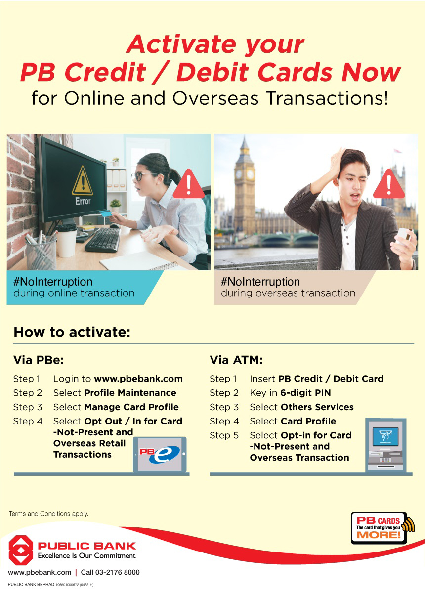 Public Bank Berhad - Activate your PB Cards Now for Online and