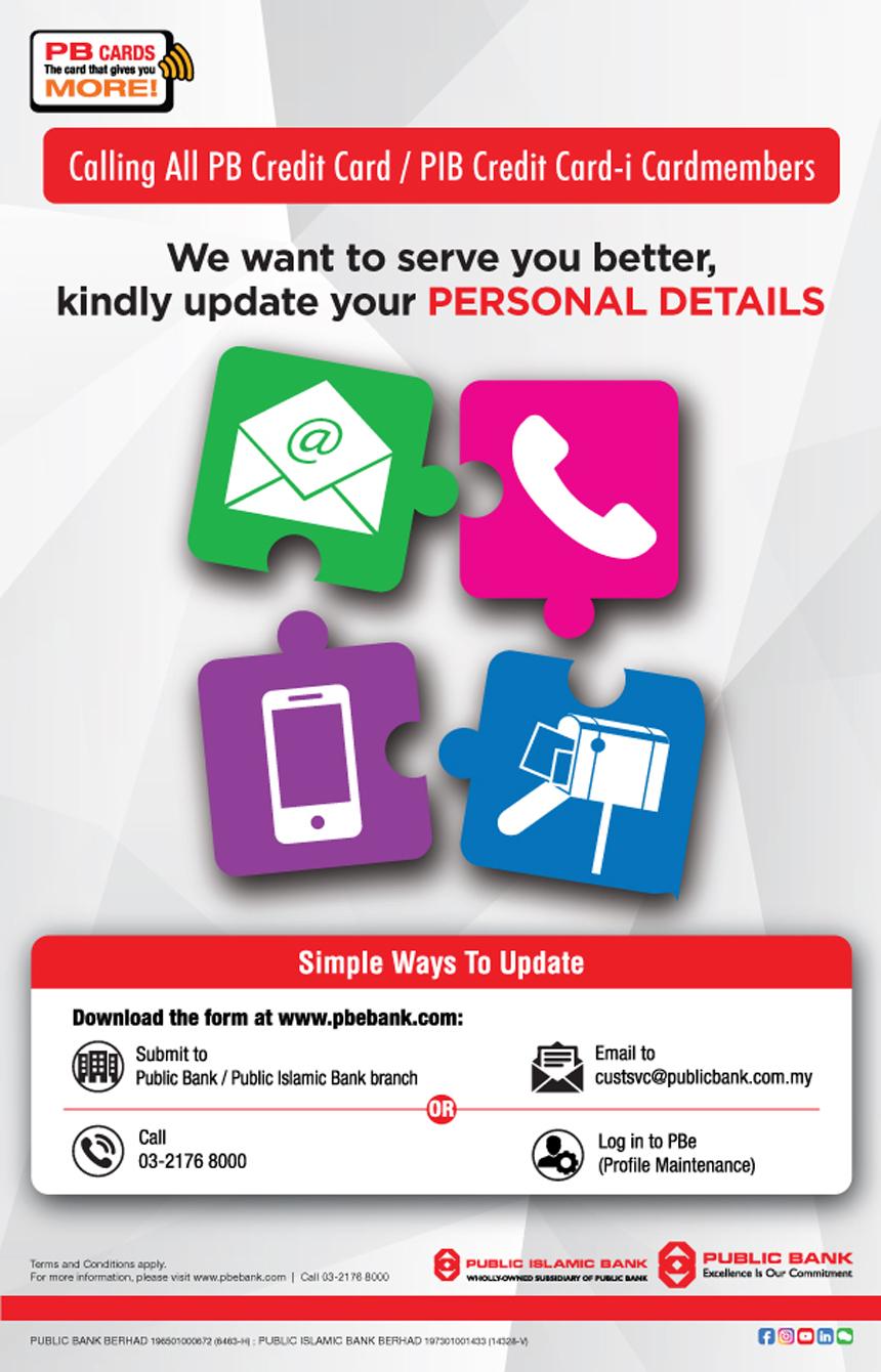 Public Bank Berhad Update Your Personal Details